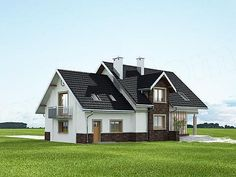Elewacja tylna projektu Heliodor - murowana – beton komórkowy Cottage House Plans, Cottage Homes, House Outside Design, Dream House Exterior, Home Fashion, Shed, Outdoor Structures, How To Plan, Mansions