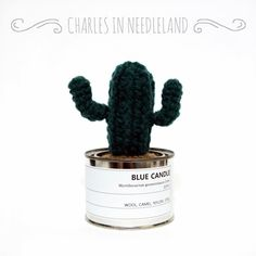 BLUE CANDLE - Handmade cactus by CharlesinNeedleland on Etsy