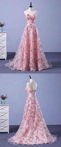 Pink tulle 3D flowers long prom dress, pink evening dress