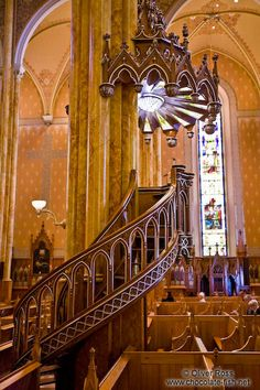 Wooden pulpit inside the Saint Patricks basilica in Montreal, Quebec, Canada
