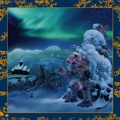 This troll painting by Ivar Rødningen shows a winter scene from Sollia in Stor-Elvdal municipality, on the outskirts of Rondane, Norway