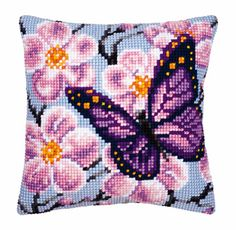 Butterfly Blossom Cross Stitch Cushion Kit By Vervaco