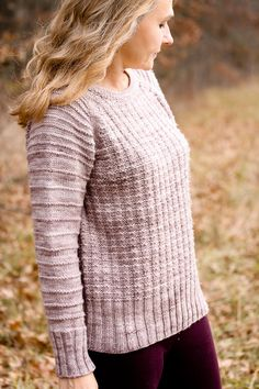 Evenlight-seamless top down wide raglan line with wider purl stripe spacing below the shoulders.