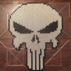 Punisher skull logo - Marvel perler beads by bonerus
