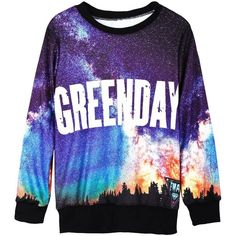 Black Long Sleeve Galaxy GREENDAY Print Sweatshirt ❤ liked on Polyvore featuring tops, hoodies, sweatshirts, sweatshirts hoodies, black sweatshirt, sweat tops, patterned sweatshirts and galaxy print sweatshirt