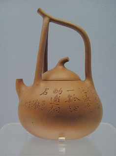 """Teapot with a looped handle and """"Man Sheng"""" Mark; Yixing ware, about 1900. photo by Gerbil"""