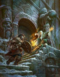 defending, warrior, stone entrance, armor, magic, green dress, shield, club, ancient, wizard, man