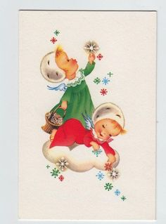 Norcross Two Angels Playing with Stars  ~ Vintage Christmas Greeting Card