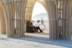 Two burners chilling out in the shade of an art piece. :') #burningman #art #travel