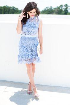 gorgeous lace cut-out dress (on sale! Blue Fashion, Spring Fashion, Toddler Fashion, Fashion Bloggers, Dresses For Sale, Blue Dresses, Powder, Honey, High Neck Dress