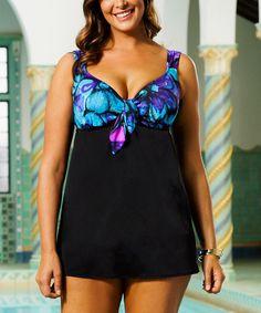 Look what I found on #zulily! Blue & Black Longitude Gypsie Swimdress - Women & Plus #zulilyfinds