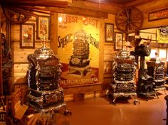These amazing stoves are at the Rusty Iron Ranch - take a look at www.antiquestovesite.com