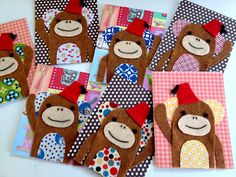Monkey Card tutorial with fabric and felt scraps!