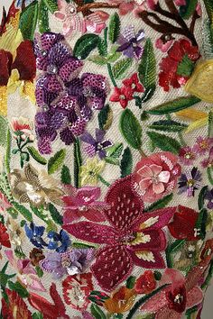 embroidery detail -  Todd Oldham (American, born 1961):  Ensemble - silk, linen, plastic leather, synthetic.  1966