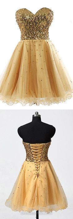 Sparkly Gold Prom Dresses,  Sweetheart Homecoming Dresses, Short Summer Dress, Sequins Cocktail Dresses, Sexy Party Dress