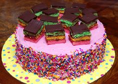 RAINBOW COOKIE FLOURLESS CHOCOLATE CAKE