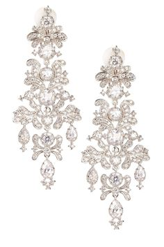 CZ by Kenneth Jay Lane Clear CZ Edwardian Chandelier Earrings