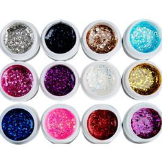 EOZY Nails Art BIG GLITTER UV GEL 12 Assorted Color Manicures or Pedicures DIY Makeup Decorations for Acrylic Nail *** Read more reviews of the product by visiting the link on the image.