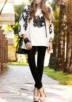 Beige Geometric Print Aztec Irregular Batwing Long Sleeve V-neck Loose-fitting Casual Fashion Cardigan Sweater