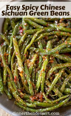 Spicy Chinese Sichuan Green Beans are the perfect easy side dish to your favorit. Spicy Chinese Sichuan Green Beans are the perfect easy side dish to your favorite Chinese meal and they're a breeze to make with just a few ingredients. Side Dishes Easy, Vegetable Side Dishes, Side Dish Recipes, Asian Recipes, Healthy Recipes, Asian Side Dishes, Chinese Recipes, Spicy Recipes, Chinese Meals