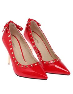 Red Bow Rivet High Heel Shoes 31.33