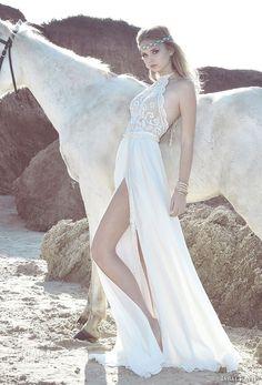 inbal raviv 2017 bridal sleeveless jewel halter neck heavily embellished bodice side slit bohemian soft a line wedding dress sweep train (rif) mv