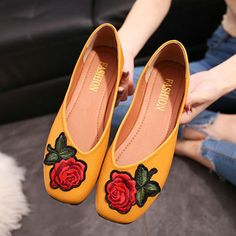 d4a8d2a4ad595 Hot-sale Flower Embroidery Vintage Flat Slip On Shoes - NewChic Mobile  Types Of Shoes