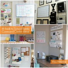18 Family Command Center Ideas plus free organization printables. Household Organization, School Organization, Storage Organization, Kitchen Organization, Bureau Design, Family Command Center, Command Centers, Paper Clutter, Create A Family