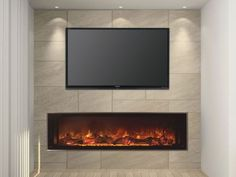 """This 60"""" Built-in Landscape Electric Fireplace will add a surge of scenic beauty to any decor it calls home. Its frameless design gives off an edge to edge flame presentation and makes surround option"""