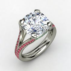 Cushion Diamond 14K White Gold Ring with Ruby