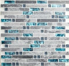 Modern Linear Wall Tile with Gray and Teal Per Sheet, Polished Marble and Glass Mosaic Backsplash for Kitchens or Bathroooms Gray Marble Backsplash Tiles Teal Blue Crystal Glass Tile Marble Tile Backsplash, Stone Mosaic Tile, Mosaic Glass, Backsplash Ideas, Tile Ideas, Mosaic Wall, Blue Kitchen Backsplash, Glass Tiles, Tile Grout