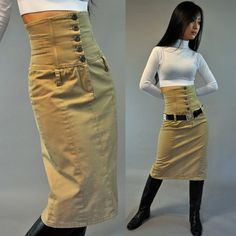 vintage 80s Pencil Skirt HIGH WAISTED Skirt / Khaki Skirt vintage pencil skirt w/ Exposed Button Front XS / S on Etsy, $48.00