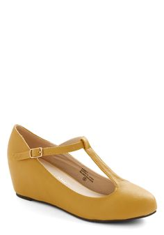 Haute Harmony Wedge in Mustard. With a count to three and a tap of the toes of your T-strap wedges, you lead the choir into a harmonious melody. maybe for ki and cour wedding T Strap Shoes, Shoes Sandals, Ankle Strap, Vintage Heels, Retro Vintage, Bridesmaid Inspiration, Cute Wedges, Prom Heels, Walk This Way
