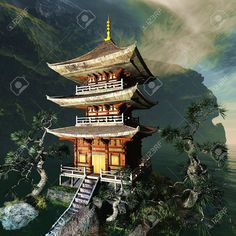 Picture of Zen buddhist temple in the mountains stock photo, images and stock photography. Japanese Pagoda, Japanese House, Samurai Tattoo, Samurai Art, Tattoo Oriental, Japanese Tattoo Art, Japanese Temple Tattoo, Templer, Asian Tattoos