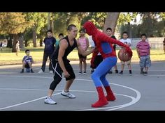 The Amazing Spiderman is amazing! Playing basketball like a pro. Credit: youtube.com/user/Professorlive