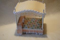 What a beautiful Dollhouse bed with Little Darlings by @Jan Hennings! Amazing! #graphic45 #dollhouse