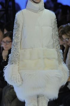 Moncler Gamme Rouge, omg... amazing white fur down coat