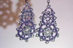 Purple earrings made from Czech glass beads by PigeonFarmer