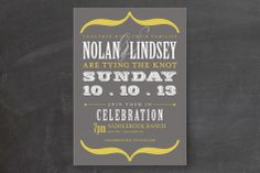Bold Brackets Wedding Invitations by Teresa Lang Design at minted.com change to sky