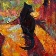 "Saatchi Art Artist Marta Lipowska; Painting, ""Shadow Cat II"" #art"