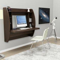 Prepac Floating Desk with Storage - Espresso - Writing Desks at Hayneedle