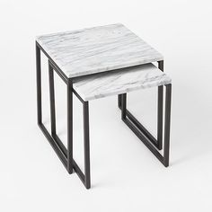 Box Frame Nesting Tables - Marble | West Elm | Great Lakes Stoneworks is one of the areas finest fabricators of granite marble! They do fabrication and installation of granite, marble, quartz, silestone! Call (586) 294-7930 or visit www.glstoneworks.com for more information!