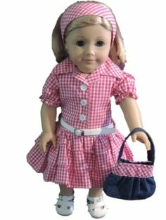 Doll Clothes Fits American Girl 18 Inch Country Cowgirl Dress, Purse, Belt, Headband Fits Our Generation, Madame Alexander - Our adorable country inspired dress will bring out the cowgirl in your doll! Western styled gingham dress with belt, denim purse and matching headband. Shirt styled dress with ruffled skirt has collar and button up style that says country. Dark pink, nearly red gingham is perfect for a western square dance or fun around the horse ranch. Exclusively designed and…