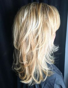 Blonde Layered Hairstyle With Flipped Ends Long Shag Hairstyles, Medium Shag Haircuts, Long Layered Haircuts, Haircuts For Long Hair, Long Hair Cuts, Cool Hairstyles, Layered Hairstyles, Bob Haircuts, Straight Hair