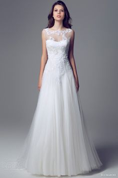 blumarine bridal 2013 2014 sposa sleeveless illusion neckline wedding dress. Beautiful!