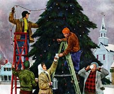 Plan59 :: Retro Vintage 1950s Christmas Ads and Holiday Art :: Tree-Trimming, 1948