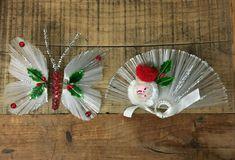 2 Vintage Retro Handmade Nylon Bristle Christmas Ornaments Butterfly & Santa #Christmas