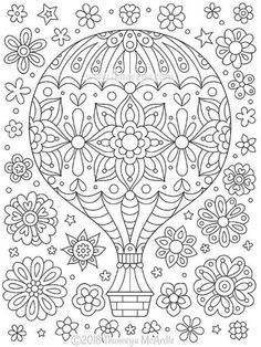 Hot Air Balloon Coloring Page from Thaneeya McArdle& Think Happy Coloring B.,Hot Air Balloon Coloring Page from Thaneeya McArdle& Think Happy Coloring Book. Coloring Pages For Grown Ups, Printable Adult Coloring Pages, Coloring Pages For Kids, Coloring Books, Mandala Coloring Pages, Coloring Pages To Print, Free Coloring Pages, Doodles, Kids Christmas