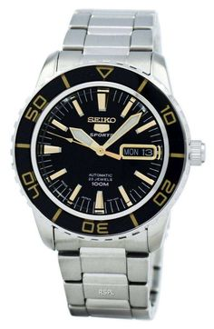 Features: Stainless Steel Case Stainless Steel Bracelet Black Dial Luminosity Hands and Markers Scratch Resistant Hardlex Crystal Fold Over Deployment Clasp Automatic Movement Water Resistant Case Diameter Case Thickness Best Seiko Watch, Casio Watch, Seiko 5 Sports Automatic, Seiko Automatic, Stainless Steel Bracelet, Stainless Steel Case, Cool Watches, Watches For Men, Authentic Watches