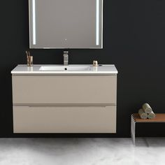 Inglet 101 cm, Meuble Salle de Bain brillant laqué, 3 Finitions, vasque céramique    #salledebain #meuble  #design #style #deco #bathroom #bath #bathroomdesign #bathroomideas